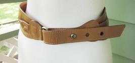 Leather Waist Belt Brass Buckle and Ball Stud Closure Anchor Logo Cognac... - $14.24