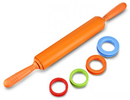 Non-stick Silicone Rolling Pin Dough Roller with adjustable Thickness Rings - $14.99