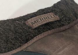 LM Women's 9 Merrell Luxe Knit Brown Studded Nubuck Slip-On Clog Mule Shoes EUC image 6