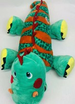 "Stuffies By Zoomworks  Dragon Plush Large 30""  Green & Orange With Storage - $27.35"