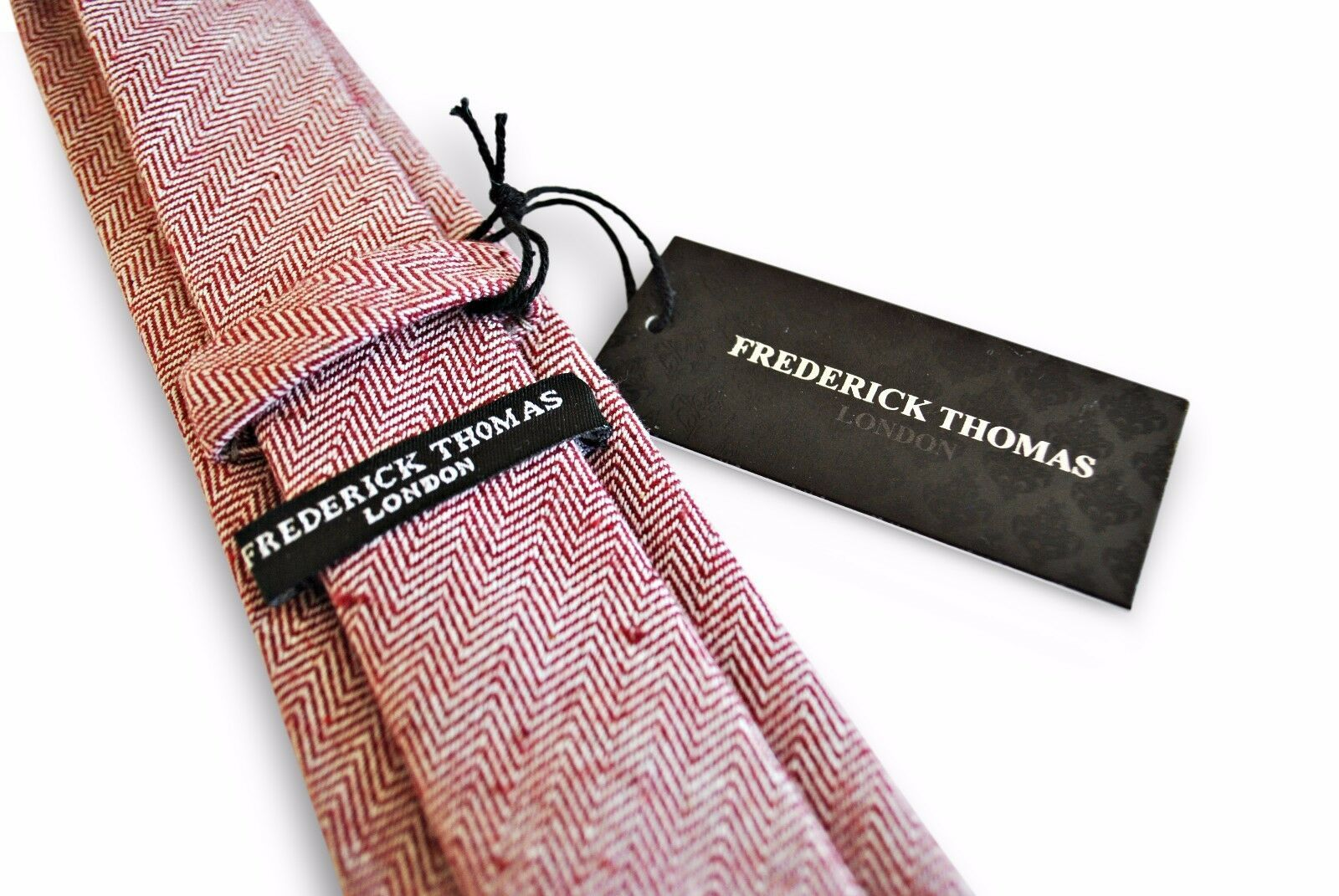 Frederick Thomas Designer Tweed Wool Mens Tie - Maroon Burgundy - Herringbone