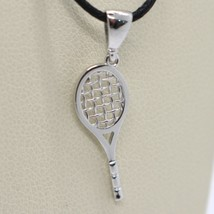18K WHITE GOLD TENNIS RACKET PENDANT, CHARM, 20 mm, 0.8 inches, MADE IN ITALY image 1