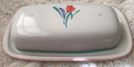 Yamaka Fascino stoneware 1/4 pound butter dish Japan pink teal blue flowers - $9.99