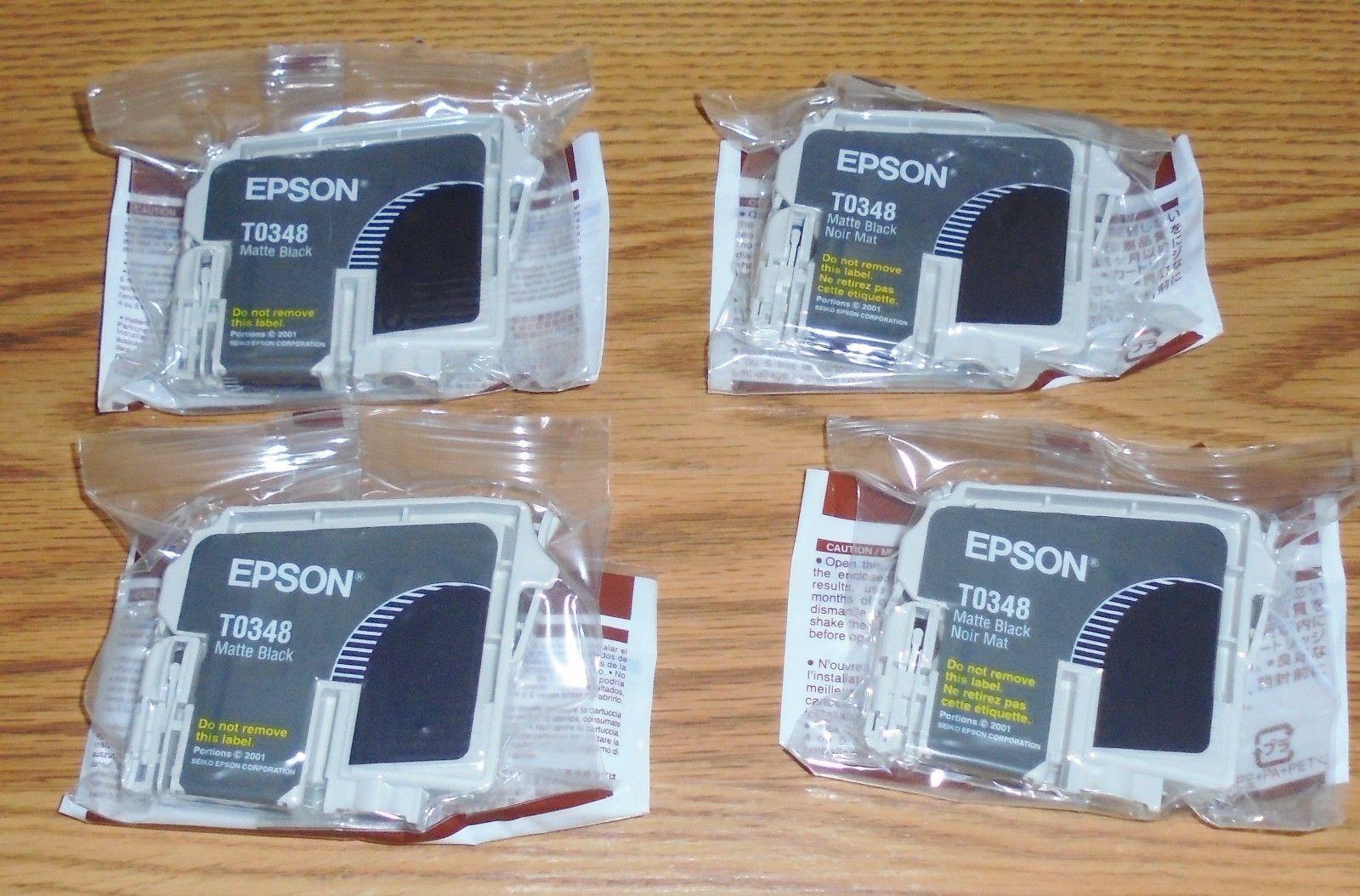 4 Lot Genuine Epson 34 T034 T0348 Matte Black Ink Cartridges New In Seal