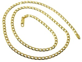 """SOLID 18K GOLD GOURMETTE CUBAN CURB LINKS CHAIN 4mm, 24"""", STRONG BRIGHT NECKLACE image 1"""