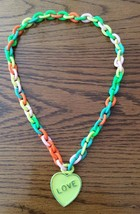 Vintage Kids Chain Necklace Love Heart Very Colorful Valentine's Day - $5.89