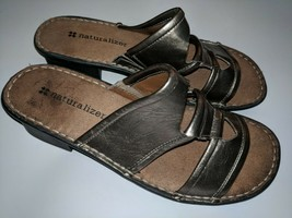 Women's Naturalizer Pewter Leather Slip On Sandals Size 7 M - $29.69