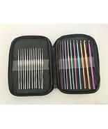 Crochet Hooks Set 22 Piece Aluminum Needles in Zipper Case Tatting Lace ... - $14.36