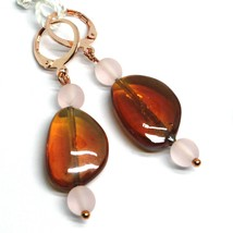 """PENDANT ROSE EARRINGS PINK AMBER ROUNDED DROP MURANO GLASS 4.8cm 1.9"""" ITALY MADE image 1"""