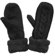 KMystic Plush Lined Cuffed Winter Knit Mittens Black, One Size - $15.76