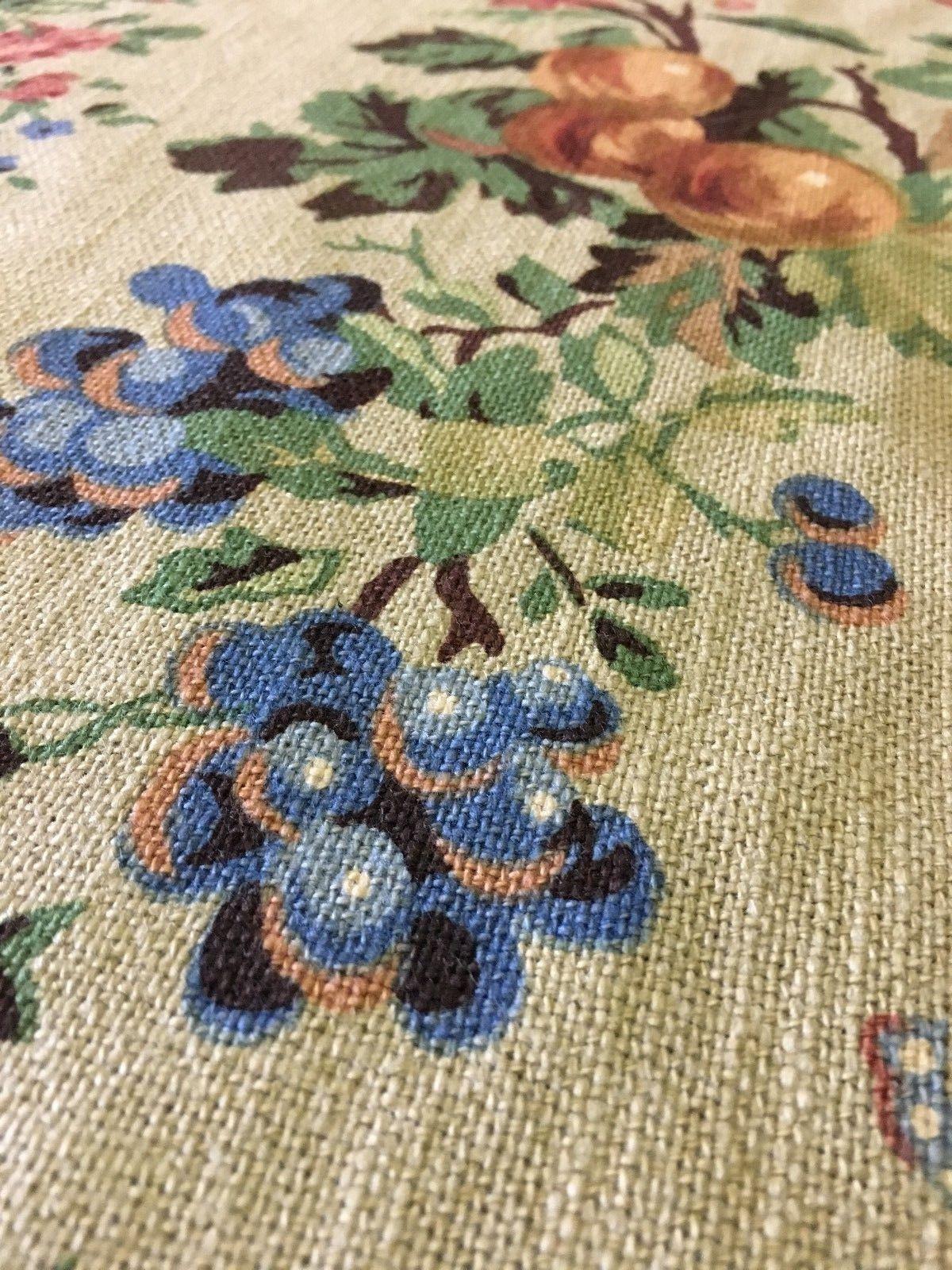 4.25 yds Jean Monro Upholstery Fabric Papillon Handblock Floral Chintz Print FF