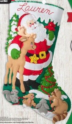 Primary image for Bucilla Forest Greetings Santa Deer Christmas Delivery Felt Stocking Kit 89242E