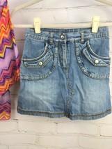 Justice Outfit Set - Boho Flowing Loose Poncho Top + Jean Skirt Skort Sz 10 image 2