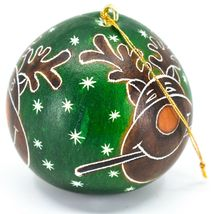 Handcrafted Carved Gourd Art Green Rudolph Reindeer Holiday Ornament Made Peru image 3