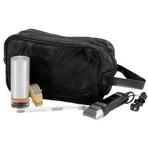 Black Leather Personal Hygiene Travel Shaving Bag With External Zippered... - $227,53 MXN
