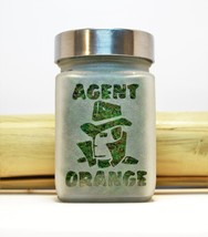 Agent Orange Etched Glass Stash Jar- Free UPGRADE to Priority Mail withi... - $24.99