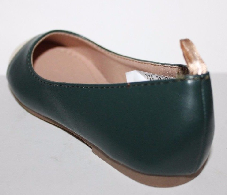 Gap Kids NWOB Girls Green Faux Leather Ballet Flats w/ Gold Toe image 3