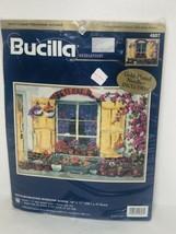 Bucilla Neighborhood Window Scene Floral Needlepoint Kit 15x11 Erin Dertner 4807 - $27.71