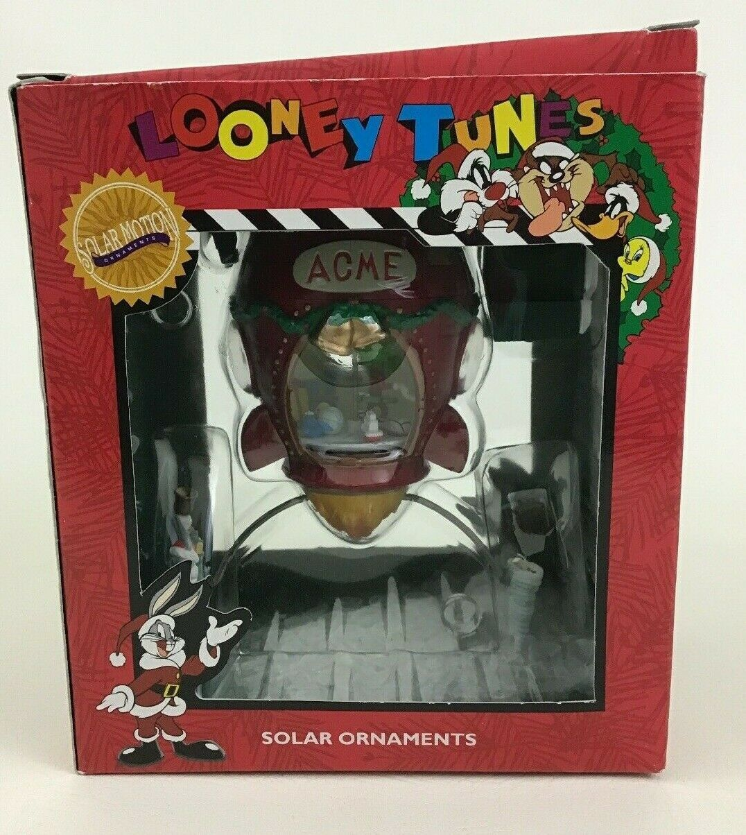Looney Tunes Solar Christmas Ornament Rocket Marvin Martian Matrix Vintage 1996
