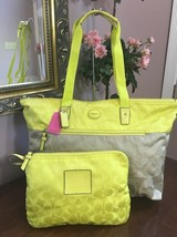 New Coach Large Weekender Packable Tote Bag Colorblock Khaki Citrine 775... - $118.79
