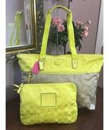 New Coach Large Weekender Packable Tote Bag Colorblock Khaki Citrine 775... - $118.79