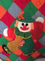 VINTAGE Handmade Clown Quilt Wall Hanging Child Crib Toddler Bright Colo... - $56.07