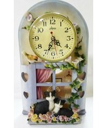 quartz table clock Cats and birds out side a window resin - $59.40