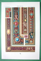 BAROQUE Tapestry & Borders Mortlake England - COLOR Litho Print by Racinet - $34.20