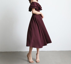 A Line Off Shoulder Tea Dress Wedding Bridesmaid Dress, Green Blush Burgundy image 8