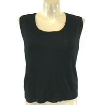 Ming Wang Large Top Solid Black Knit Tank Shell Side Slit Washable Basic... - $39.95