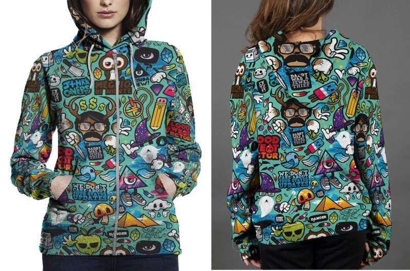 Primary image for Abstract Cartoons Colorful Hoodie Fullprint Women Zipper