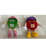 """2004 Plush M&Ms Green & Red Plush Doll Figures Rain Hat & Boots Galerie 8"""" - $19.79"""