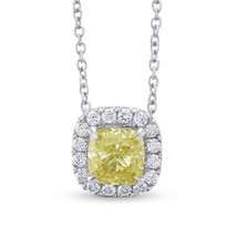 0.9Cts Yellow Diamond Halo Pendant Necklace Set in 18K White Yellow Gold... - $4,702.50