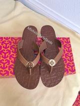 size 7M NIB TORY BURCH Royal tan / Gold Thora Thong Leather Sandals - $115.00