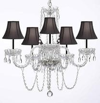 Murano Venetian Style All-Crystal Chandelier with Black Shades w/Chrome Sleeves  - $148.94