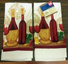 "2 Same Printed Kitchen Towels, 15"" X 25"", 1 Cork, 2 Wine Bottles & 2 Glasses - $9.89"