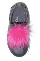 Cat & Jack Kleinkind Mädchen Vella Schwarz Kunst Pink Pelz Low Top Slipper Nwt image 3