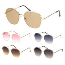 Womens Beveled Edge Round 90s Dad Metal Rim Sunglasses - $12.95