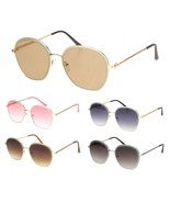 Womens Beveled Edge Round 90s Dad Metal Rim Sunglasses - $12.95