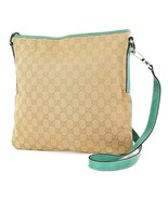 Authentic GUCCI Brown GG Canvas and Green Leather Shoulder Bag Purse #22369 - $299.00