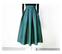 Women Suede Pleated Skirt High Waist Pleated Party Skirt DARK GREEN Suede Skirt image 4