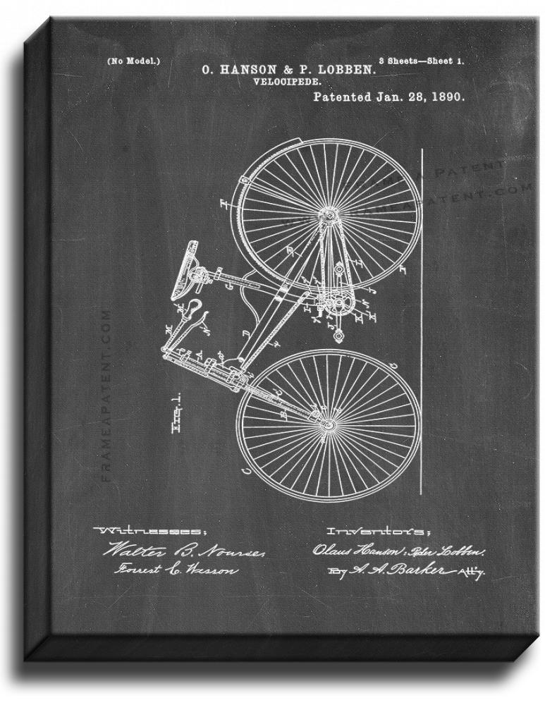 Primary image for Velocipede Patent Print Chalkboard on Canvas