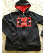 Under Armour Hoodie Boys Size Medium Zipper Up Front Black Red - $19.48