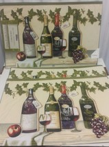 Set Of 3 Fabric Placemats, Wine Bottles, Glasses & Grapes, By Hd, Sp - $11.87