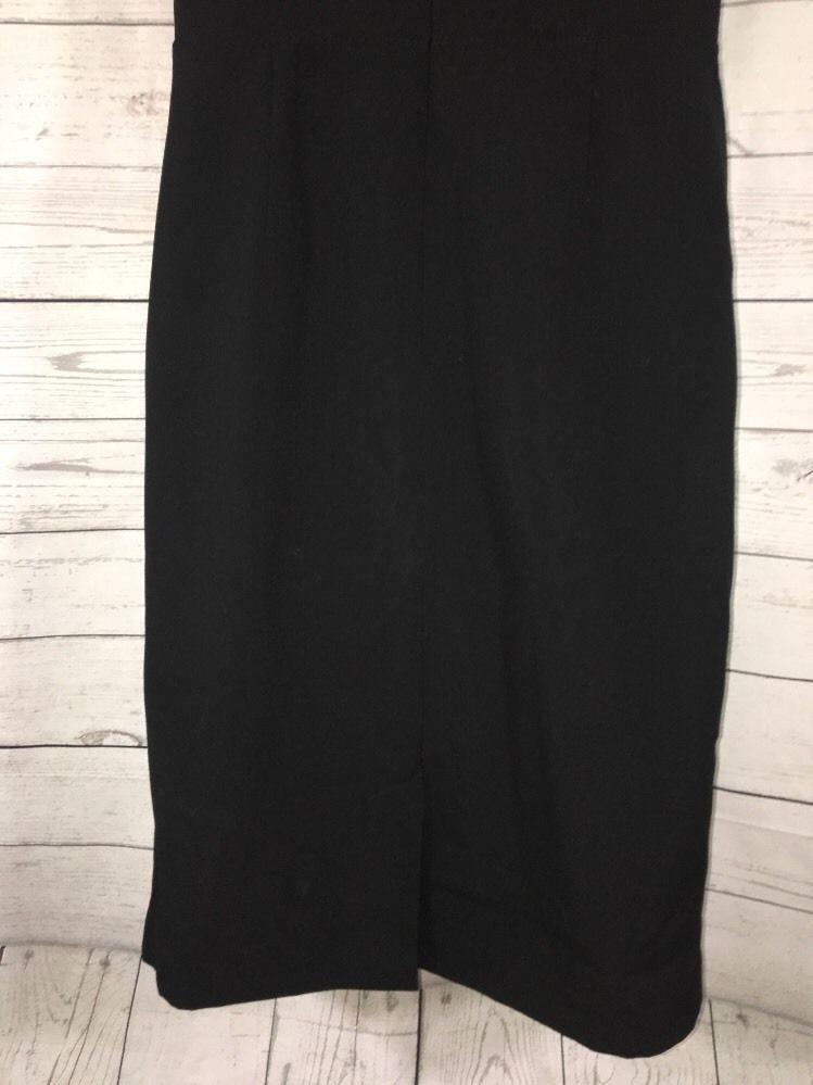 Calvin Klein Black Dress Size 4 Chic Pleat Bust Empire Waist Cap Sleeve Lined