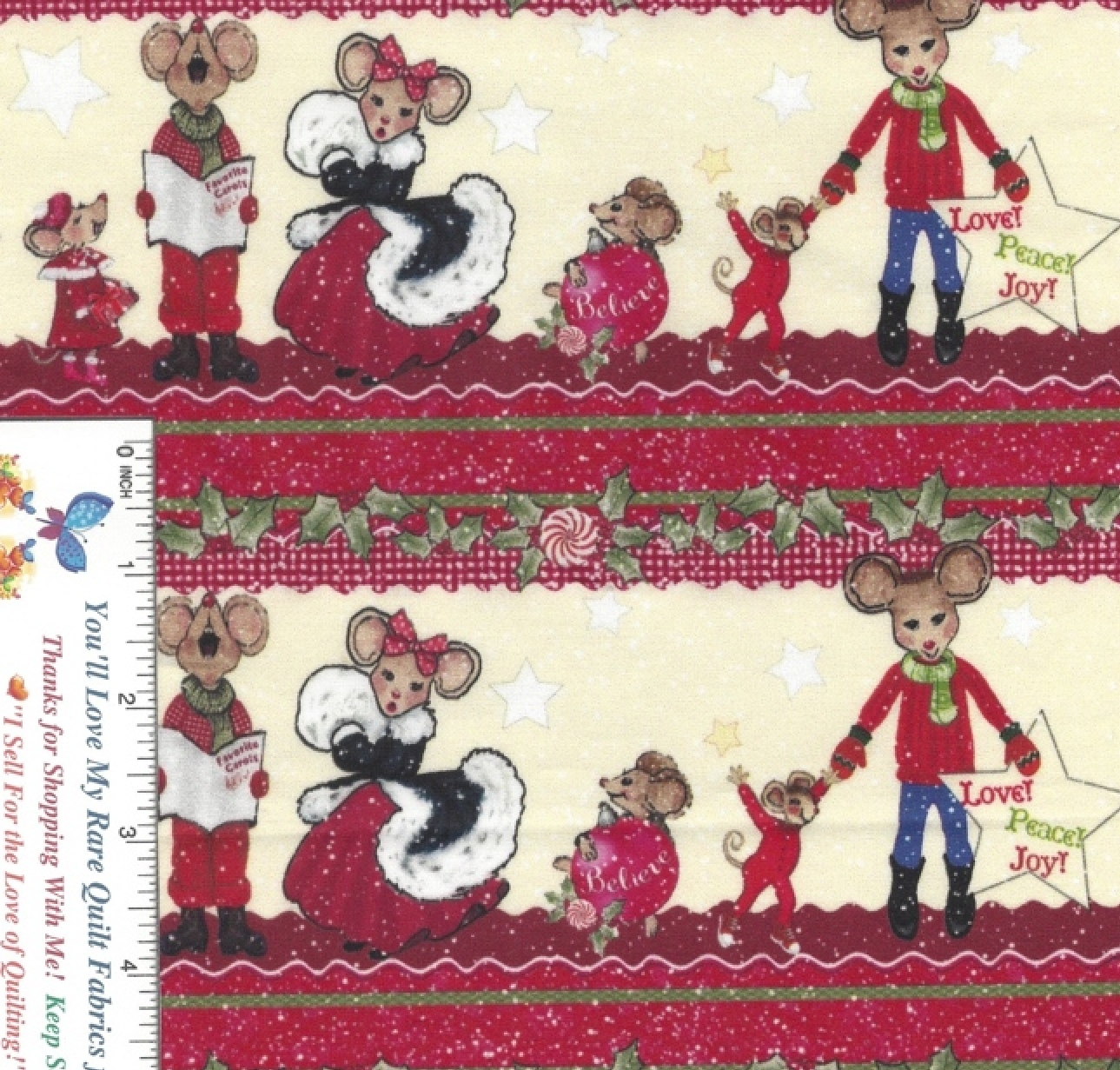 Merry Christmas Mouse, Mice, Two Borders at 68 by 8 inches Exclusive to Divines