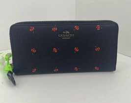 Coach Wallet Red Floral Bud Black Leather Accordion Zip Around 53445 W19 - $97.98