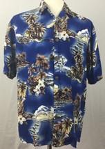 Hilo Hattie Hawaiian Shirt Men's Large Blue Hibiscus Ukulele Aloha - $19.79