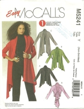 McCall's Sewing Pattern 5241 Misses Womens Cardigan Diagonal Hem XS S M New - $9.99