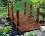 Decorative Wood Home Garden Pond Yard Arch Bridge Walkway 4.9ft.